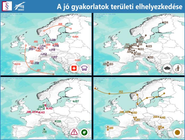 A gyűjteményben bemutatott európai jó gyakorlatok területi elhelyezkedése